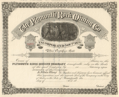 Plymouth Rock Mining Co. stock certificate 1880's (New Mexico)