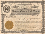 Elmcourt Country Club stock certificate 1921  (Ontario)
