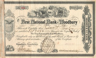 First National Bank of Woodbury stock certificate 1910 (New Jersey)