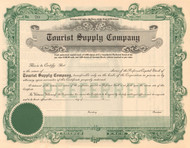 Tourist Supply Company stock certificate circa 1924 (camping equipment)