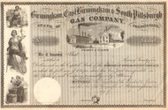 Birmingham, East Birmingham & South Pittsburgh Gas Company stock certificate circa 1856 (Pennsylvania)