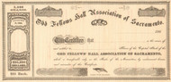 Odd Fellows Hall Association of Sacramento stock certificate circa 1867  (California)