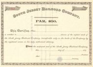 South Jersey Railroad Company stock certificate circa 1893  (New Jersey)