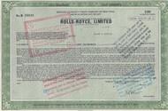 Rolls-Royce, limited stock certificate (ADR) 1971