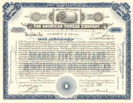 American Thread Company stock certificate 1950s (New Jersey)