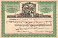 Baltimore and Philadelphia Steamboat Company stock certificate 1926