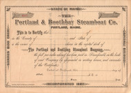 Portland and Boothbay Steamboat Company stock certificate circa 1887