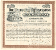 Baltimore Refrigerating and Heating Company stock certificate 1906