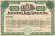 Schenectady Hotel Company stock certificate 1947 (New York) - green