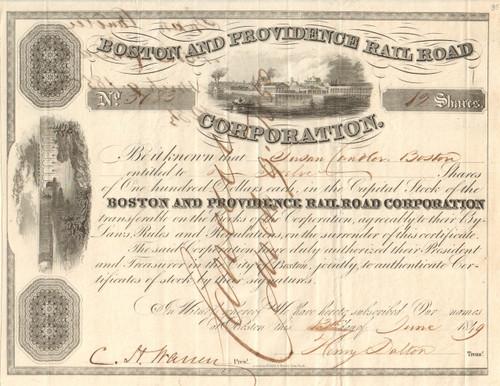 Boston and Providence Rail Road Corporation stock certificate 1849 (Massachusetts)