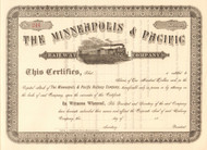 Minneapolis and Pacific Railway Company  stock certificate circa 1884 (Minnesota)