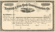 Norwich and New York Transportation Co. stock certificate 1860's