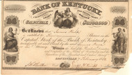 Bank of Kentucky stock certificate 1852 (KY)