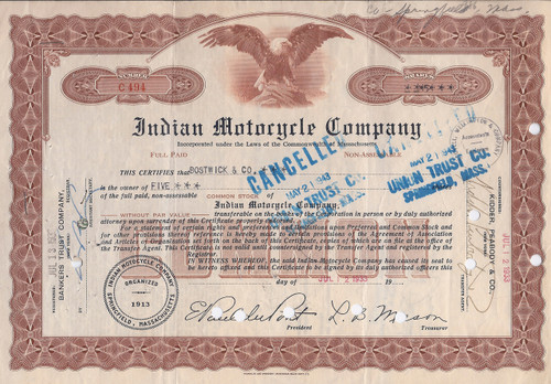 Indian Motorcycle stock certificate 1933