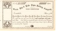 Green Bay and Lake Pepin Railway Company  stock certificate 1860's (Wisconsin)