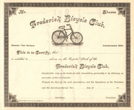 Frederick (MD) Bicycle Club stock certificate circa 1893