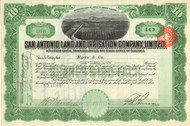 San Antonio Land and Irrigation Company Limited stock certificate 1911