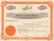 American Canadian Air Lines Inc stock certificate 1930's (Boston MA)