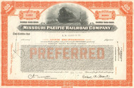 Missouri Pacific Corporation stock certificate 1950's