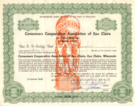 Consumers Cooperative Association of Eau Claire stock certificate 1982 (Wisconsin)