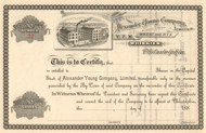 Alexander Young Company stock certificate 1880's (Philadelphia Whiskey)