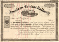 American Central Railway stock certificate circa 1866
