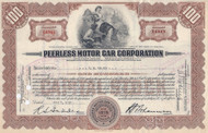 Peerless Motor Car stock certificate 1930
