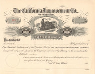 California Improvement Company stock certificate circa 1905 (Illinois)