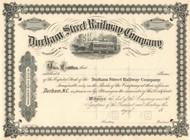 Durham Street Railway Company stock certificate 1891 (North Carolina)