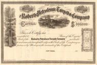 Roberts Petroleum Torpedo Company stock certificate circa 1865 (New York)