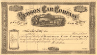 Hudson Car Company stock certificate circa 1868 (New Jersey)