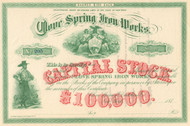 Clove Spring Iron Works stock certificate 1873 (New York)