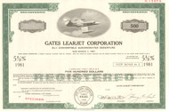 Gates Learjet Corporation bond certificate specimen circa 1969