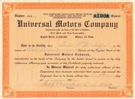 Universal Motors Company stock certificate 1916 (North Carolina)