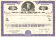 Chris-Craft Industries Inc. bond certificate 1969 (boating)