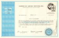 American Micro Devices stock certificate 1972 (Minnesota)
