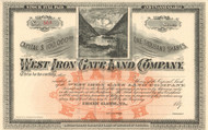 West Iron Gate Land Company stock certificate circa 1890