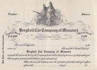 Bergdoll Car Company of Missouri 1908 stock certificate