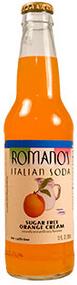 Buy Romano's Sugar Free Orange Cream Italian Soda in 12oz glass bottles from SummitCitySoda.com