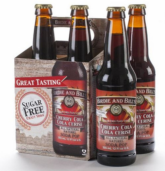 Birdie and Bill's Cherry Cola - All Natural Soda Pop in 12 oz glass bottles at SummitCitySoda.com