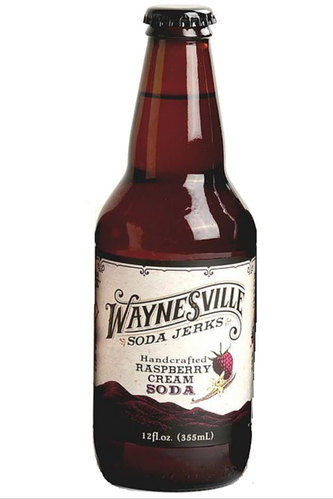 Waynesville Soda Jerks Handcrafted Raspberry Cream Soda in 12 oz glass bottles at SummitCitySoda.com