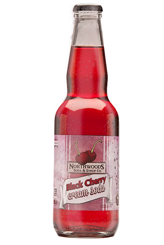 Northwoods Black Cherry Cream Soda in 11.5 oz. glass bottles for Sale from SummitCitySoda.com