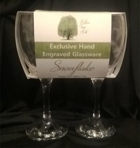 Snowflake Engraved Wine Glasses