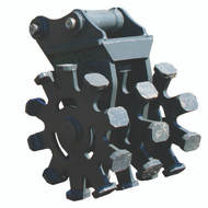 """22"""" Compaction Wheel with Pins for Yanmar ViO75, ViO80, SV100 Excavator with Quick Attach"""