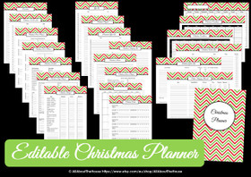 Christmas Planner - EDITABLE - Chevron Red & Green - INSTANT DOWNLOAD