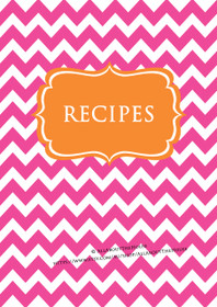 Pink Chevron & Orange Recipe Binder - EDITABLE - 54 Sheets - INSTANT DOWNLOAD