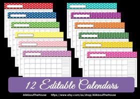Multi-coloured EDITABLE - Polka Dot Calendars - INSTANT DOWNLOAD