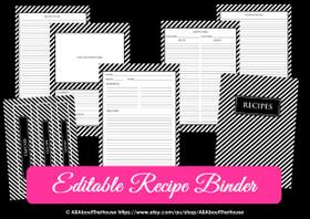 EDITABLE Recipe Binder Printables - Black Stripe - INSTANT DOWNLOAD