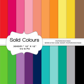 """Solid Digital Paper Pack 12"""" x 12"""" (20 colors) - NSTANT DOWNLOAD"""
