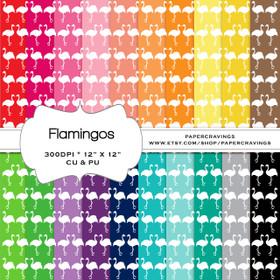 "Flamingo Digital Paper Pack 12"" x 12"" (20 colors) INSTANT DOWNLOAD"